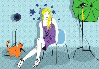 Girl in photo studio