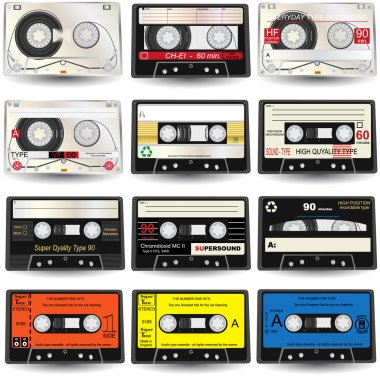 9 high-detailed cassettes, vector illustration. stock vector