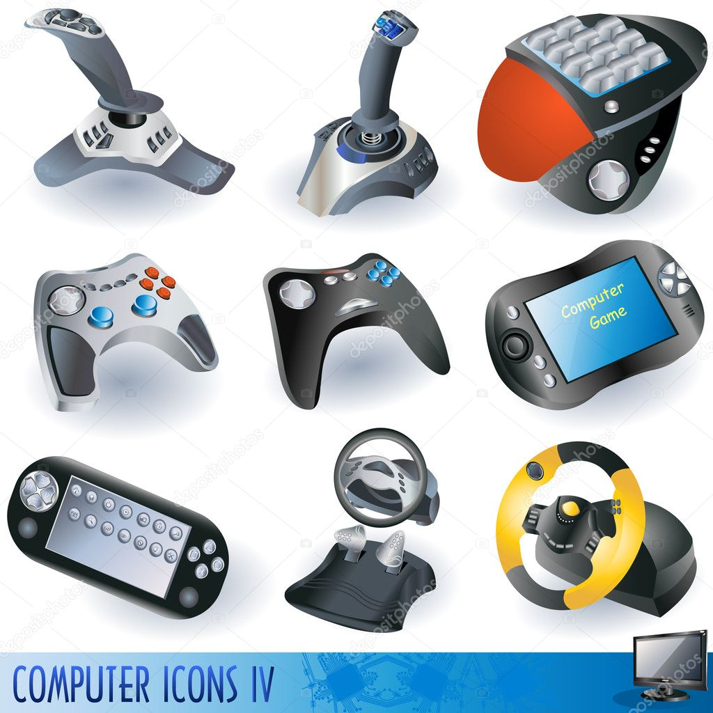 A collection of computer icons, gaming devices. stock vector