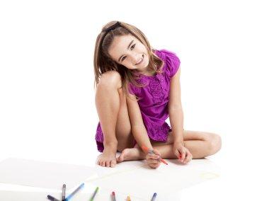 Girl making drawings