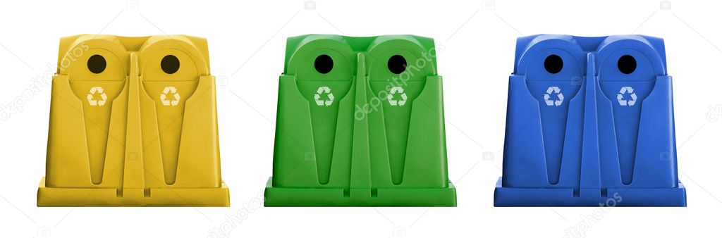 Recycle containers for glass, metal, plastic and paper waste isolated on white background