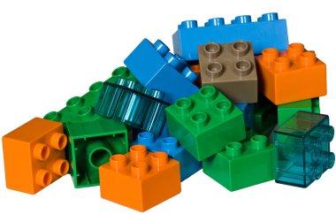 A pile of plastic toy bricks