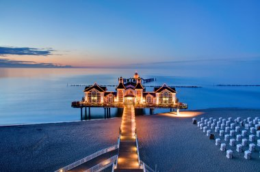 Pier with restaurant at the Baltic Sea, Germany