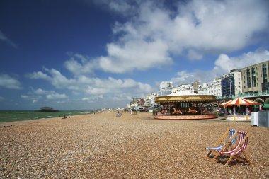 Brighton beach deckchair summer day uk