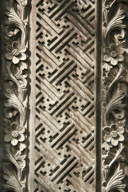 Balinese style wood carving background pattern