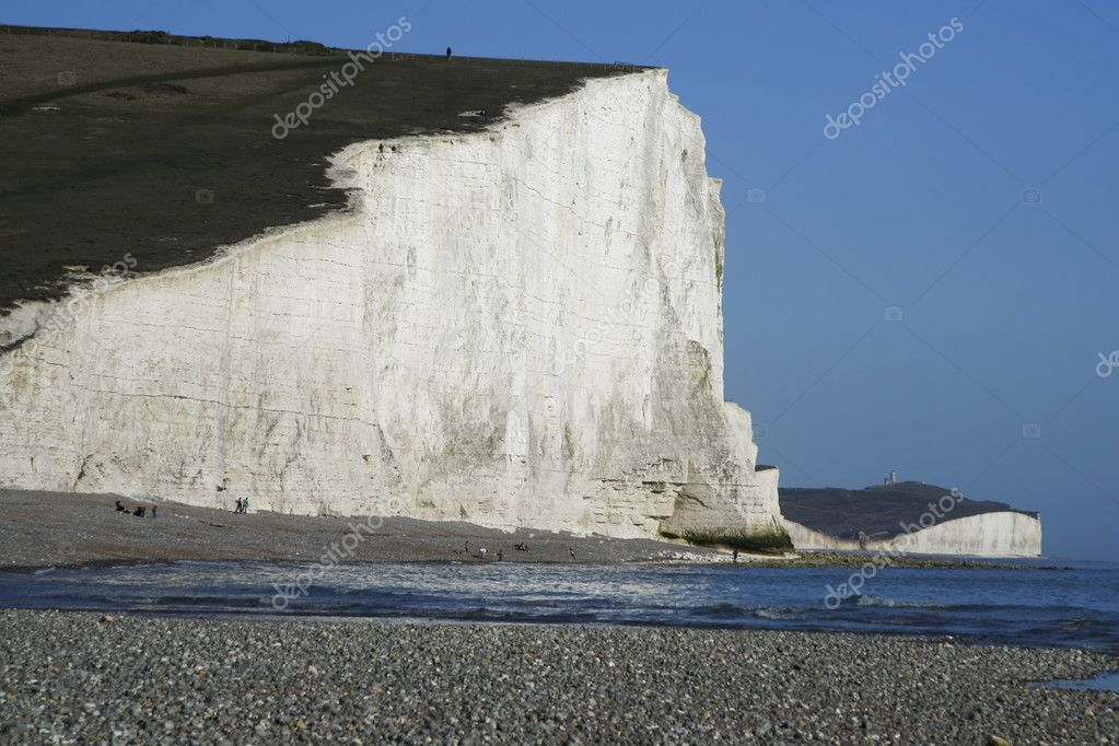 Seven sisters chalk cliffs pebble beach