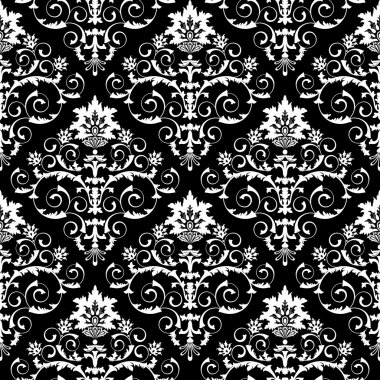 Seamless from leaves and flowers on black background (can be repeated and scaled in any size) clip art vector