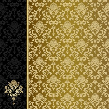 Background with gold flowers and leaves stock vector