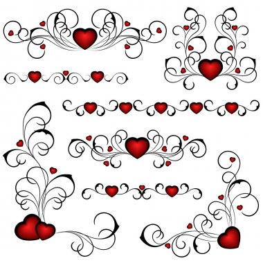 Set from heats with a floral pattern clip art vector