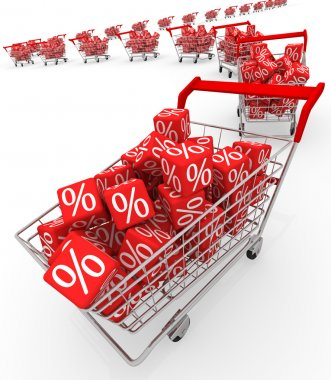 Shopping carts with red cubes stock vector