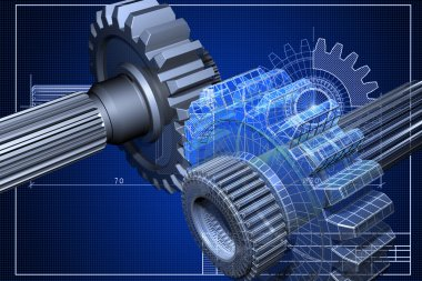 Close-up of blueprint with cogwheel stock vector