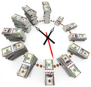 The relationship between time and money stock vector