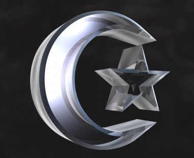 Islamic Symbol in glass - 3d