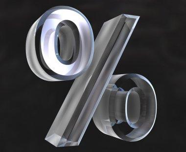 Percent symbol in glass (3d)