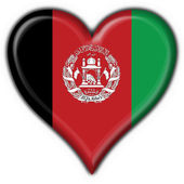 Afghanistan button flag heart shape