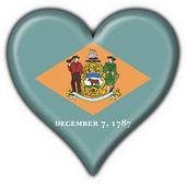 Photo Delaware (USA State) button flag heart shape
