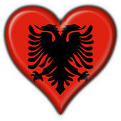 Photo Albanian button flag heart shape