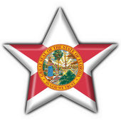 Fotografie Florida (USA State) button flag star shape