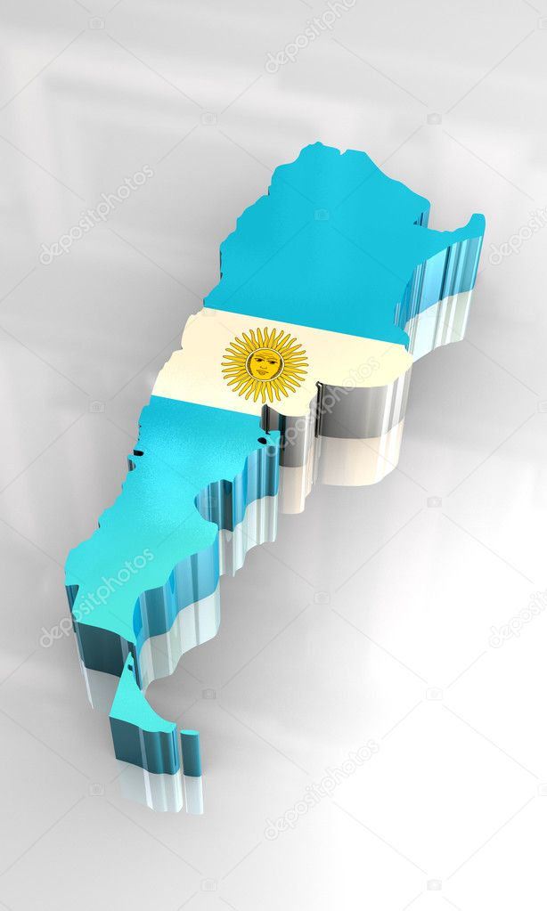 D Flag Map Of Argentina Stock Photo Fambros - Argentina map download