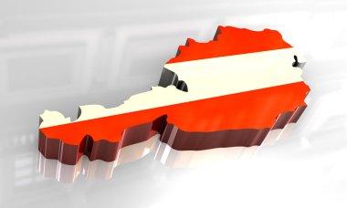 """Картина, постер, плакат, фотообои """"3D карта флаг Австрии"""", артикул 3402034"""