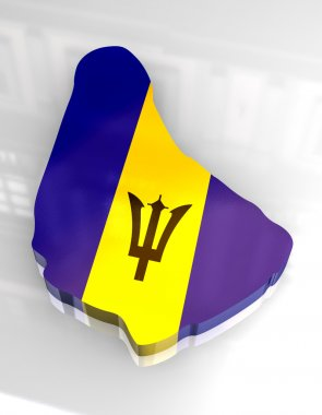 3d flag map of barbados