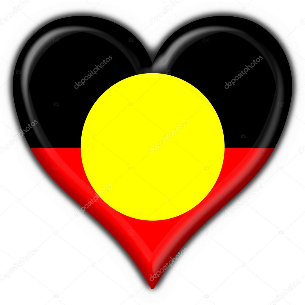 Australian Aboriginal button flag heart shape