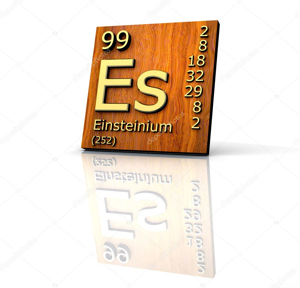 Einsteinium Periodic Table Of Elements Wood Board Stock Photo