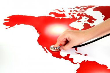 Map and stethoscope, possible illustration for pandemic of aids,