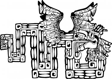 Black and White Mayan Kukulcan Image