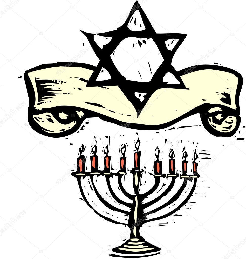 menorah Hanukkah y estrella de david — Archivo Imágenes Vectoriales ...