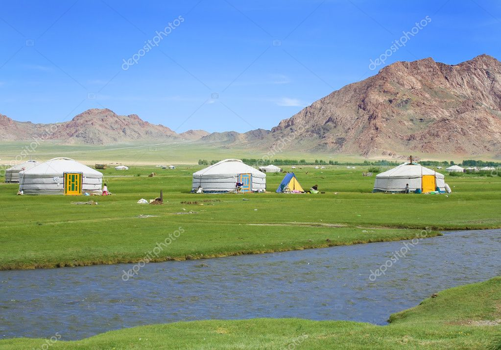 Traditional mongolian yurt in valley