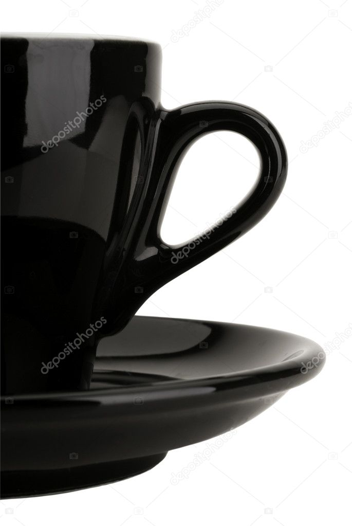 Black coffee cup isolated on white