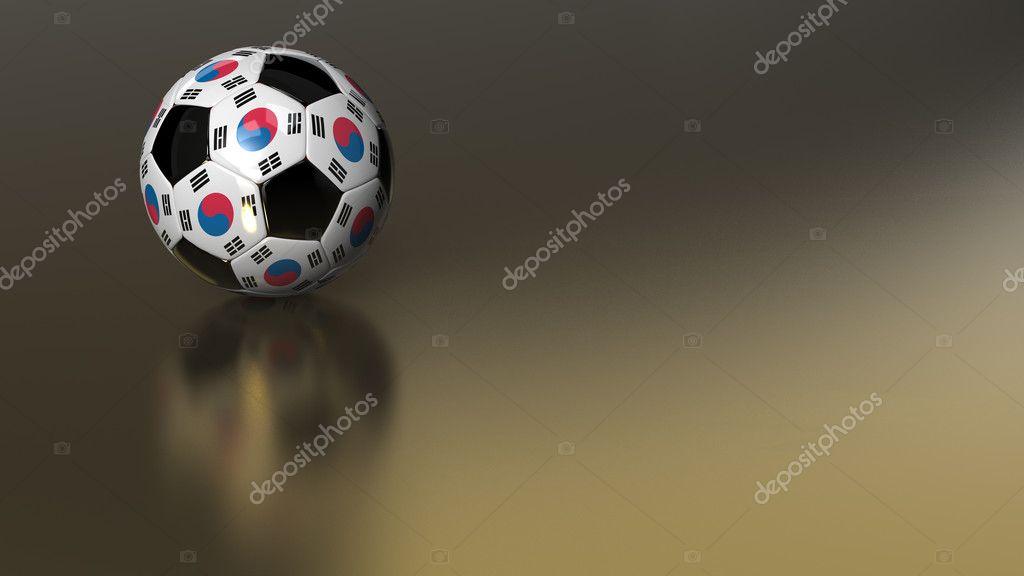 Високої якості 3d візуалізації глянсовий футбольний м яч на Золотий  металеві поверхні. Білий шестикутників нести прапор Південної Кореї. Дуже  красиві фонові ... 534a6f7a761e7