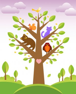 Tree and cute animals