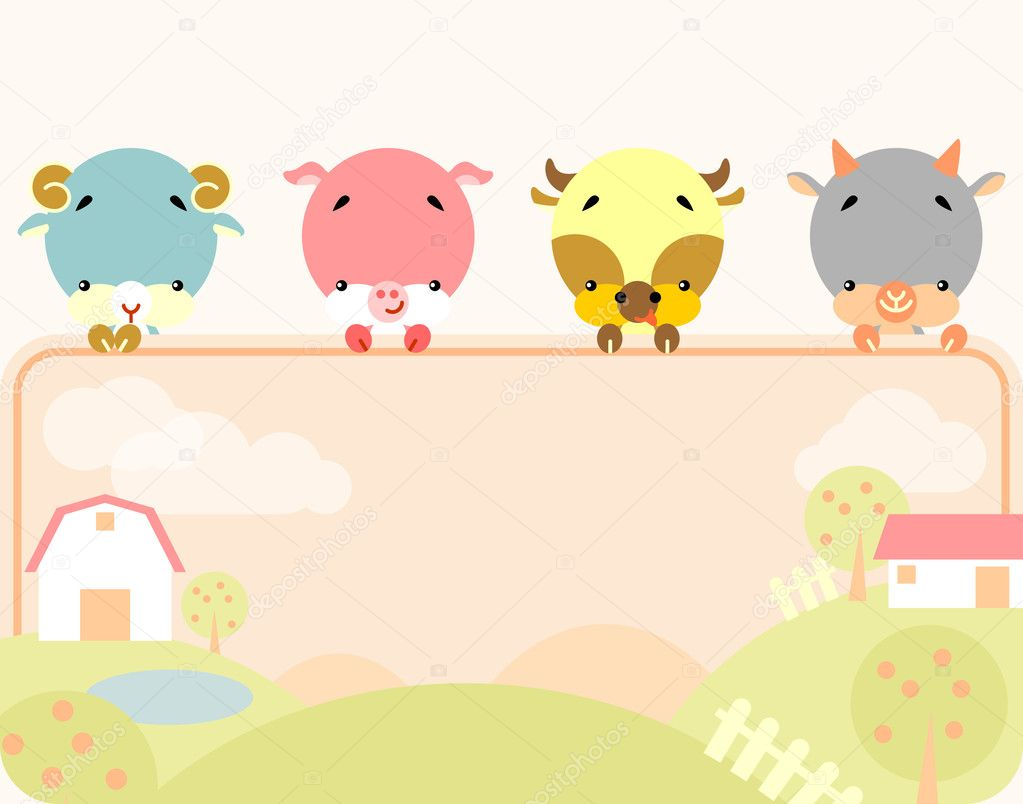 Cute farm animals banner