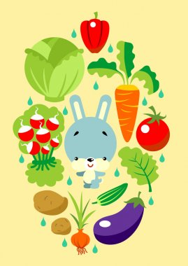 Bunny and vegetables