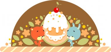 Rabbit and squirrel with cake