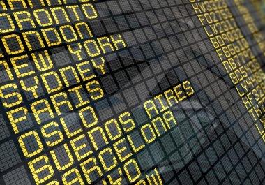 International Airport Board Close-Up