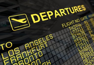 International departures board panel with environment reflection stock vector