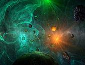 zelený mlhovina s detailní pohled na planety a slunce
