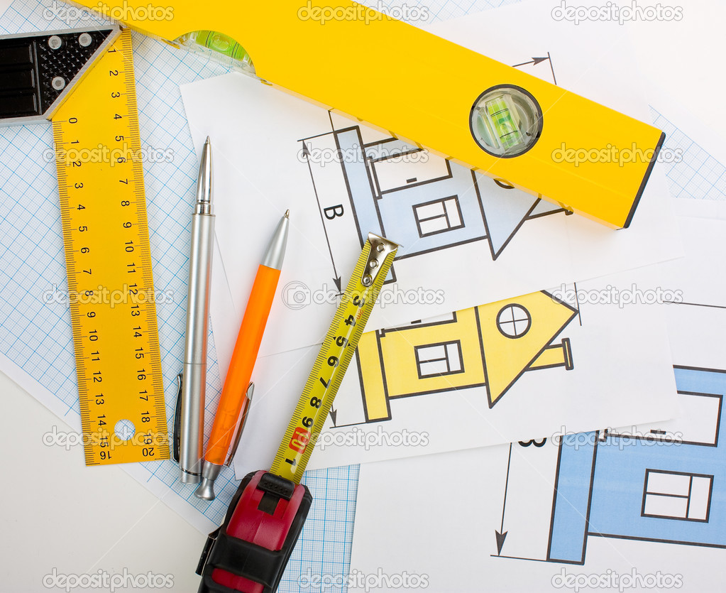 drawing at home with construction tools u2014 stock photo alan64