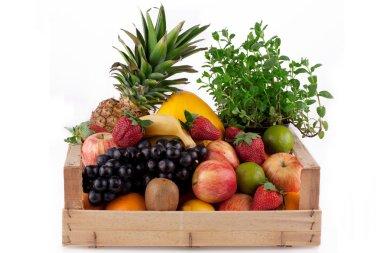Fruit in wooden box.