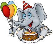 sedí slon a narozeninový dort