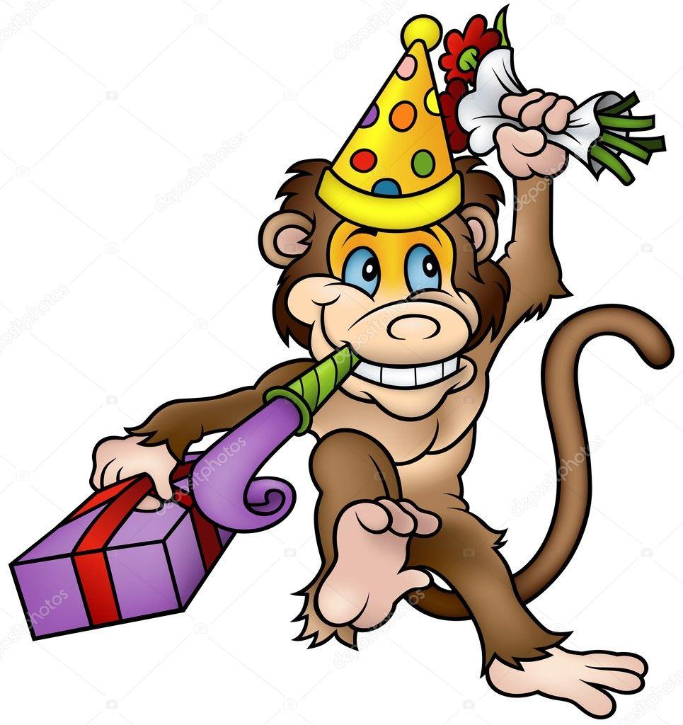 Картинки обезьянки с днем рождения
