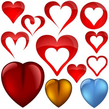 Heart Icons - colored illustration, vector clip art vector