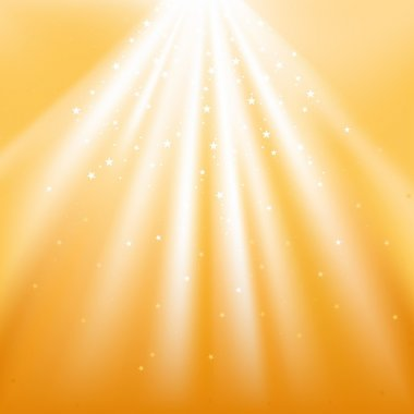 Golden Light Beams and Stars - abstract background illustration as vector stock vector