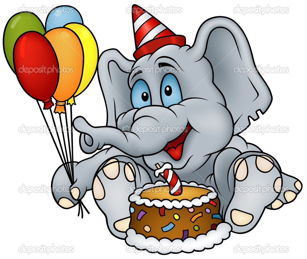 Gelukkige Verjaardag Van De Olifant Stockvector C Dero2010 3270292