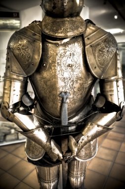 One natural old textured knight armor stock vector