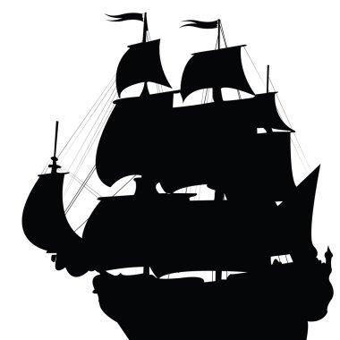 Black silhouette of old brigantine