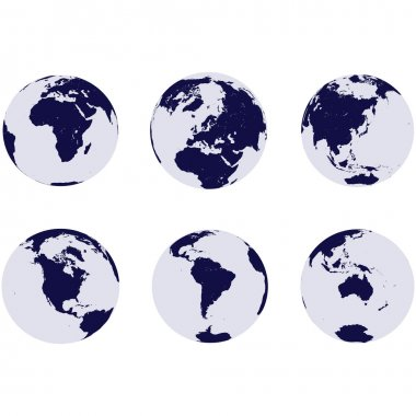 Earth globes with 6 continents
